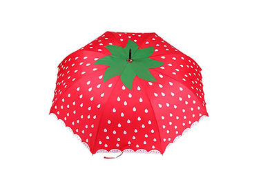 23 Inch Lovely Solid Stick Umbrella Strawberry Printing Portable For Children