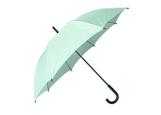 Light Green Women'S Stick Umbrellas , Solid Stick Umbrella Windproof Frame