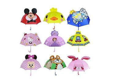 18 Inches 3D Design Animal Kids Compact Umbrella Pink 10mm Metal Shaft Frame