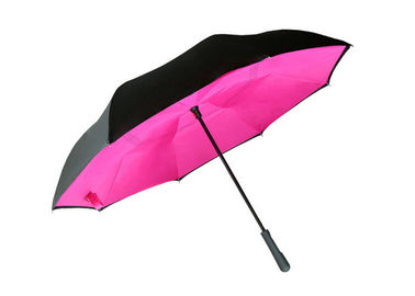 190T Pongee Adults Reverse Inverted Umbrella Colorful For Rain Shine Weather