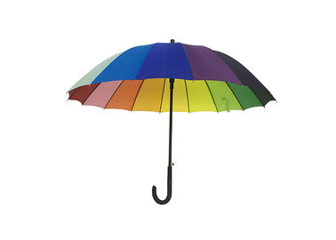 16 Ribs Rainbow Color Promotional Golf Umbrellas Stronger Metal Frame