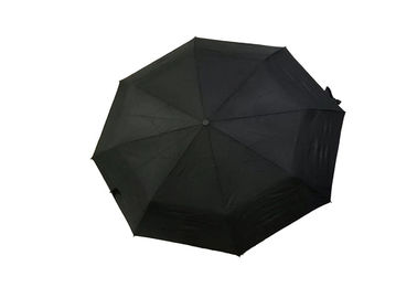 Black Strong Foldable Travel Umbrella Double Layer For Windy Weather