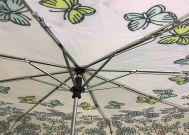 21 Inch 8 Ribs Flower Foldable Umbrella Polyester / Pongee Fabric Customized Logo
