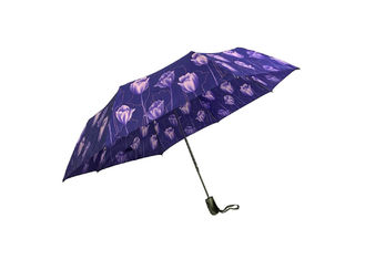 Silk Screen Printing Fold Away Umbrella , Lightweight Folding Umbrella