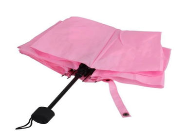 Metal Shaft Lady Pink 3 Foldable Umbrella Fiberglass Frame 21 Inch 8 Ribs
