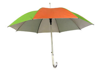Colorful Straight Aluminum Umbrella Silver Glue Coating Auto Open J Shape Handle