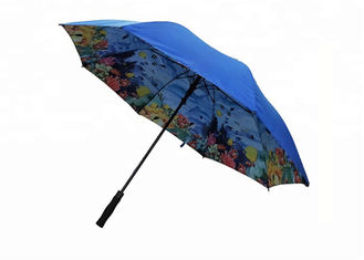 30 Inches Double Layer Golf Umbrella Solid Outsider Full Color Printing Inside Layer