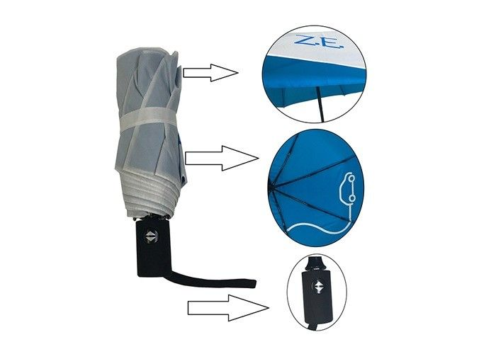 3 Folding Promotional Golf Umbrellas Metal Shaft Double Layer Cover Auto Open Closed