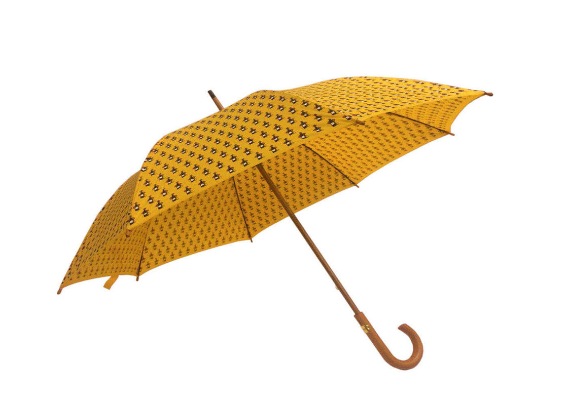 Yellow Women'S Wooden Rain Umbrella Wooden Handle Shaft Polyester Fabric