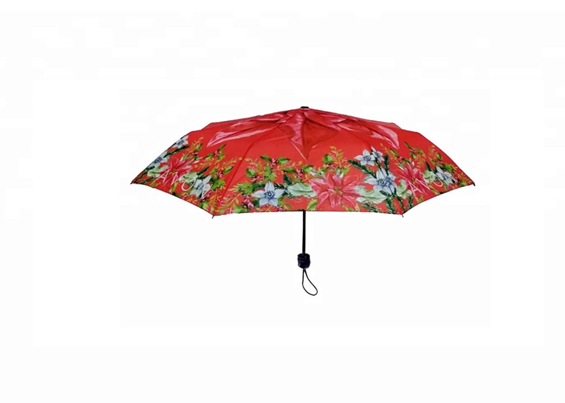 Flower 21 Inch Foldable Umbrella 8 Ribs Rubber / Plastic Handle Strong Sturdy