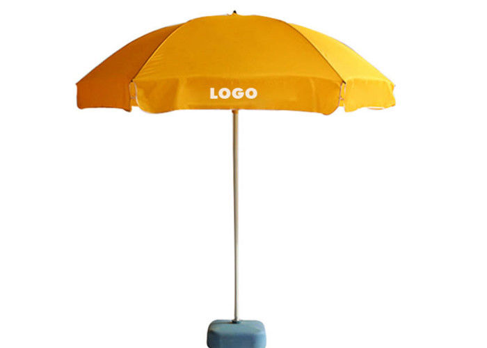 Retractable Rod Windproof Beach Umbrella , Promotional Beach Umbrellas Two Layers