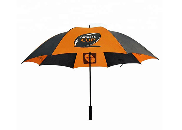 Orange And Black Compact Golf Umbrella Polyester / Pongee Fabric For Travel