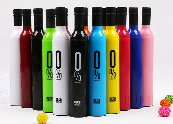21 Inches Wine Bottle Shaped Umbrella Rich Color Logo Printed For Promotion